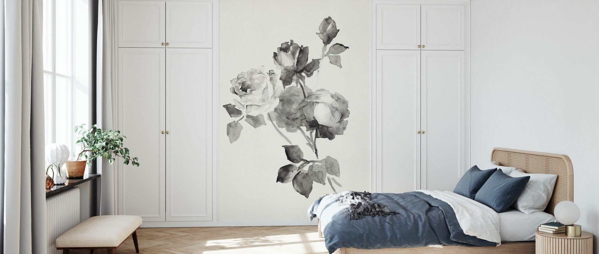 Rose Blossoms Gray - Wallpaper - Bedroom
