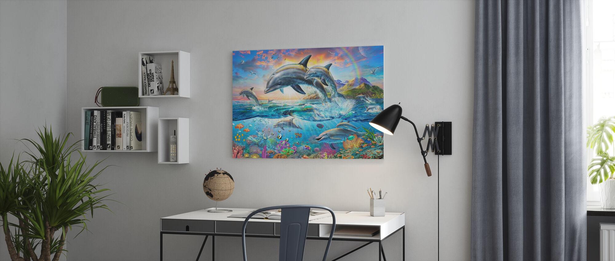 Dolphin Family - Canvas print - Office