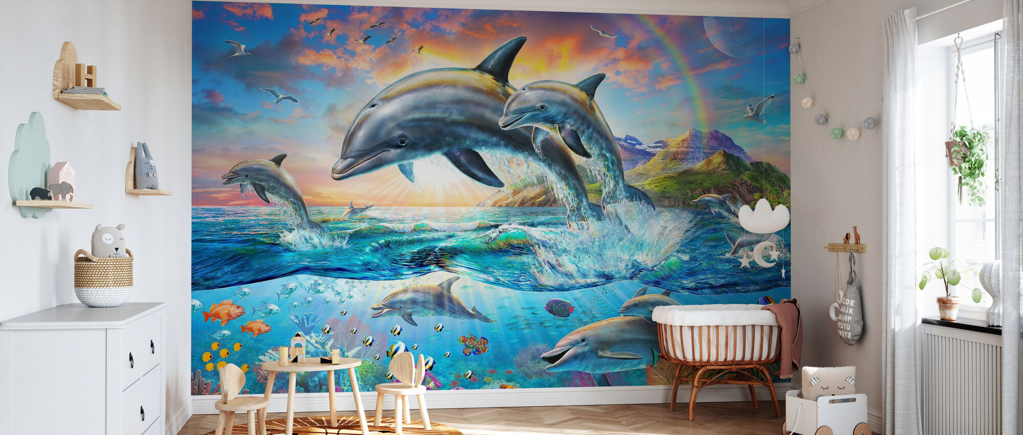 Dolphin Family - Wallpaper - Nursery