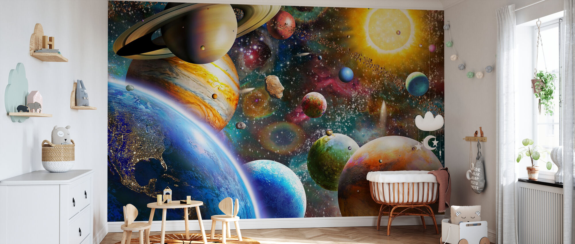 Planets in the outer space custom wallpaper Livingroom wall