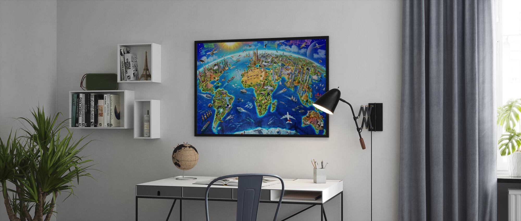 Wereldoriëntatiepunten Globe - Ingelijste print - Kantoor
