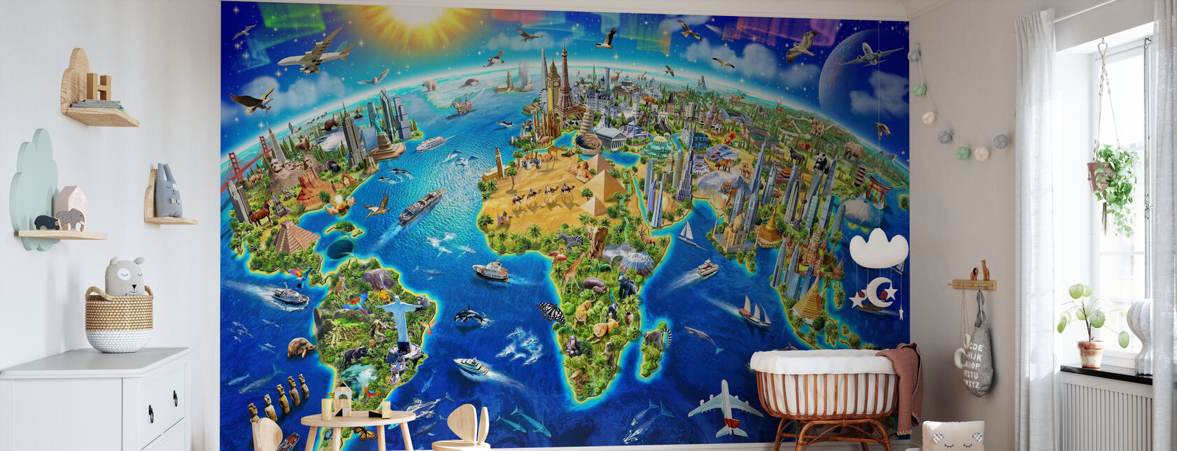 World Landmarks Globe - Wallpaper - Nursery