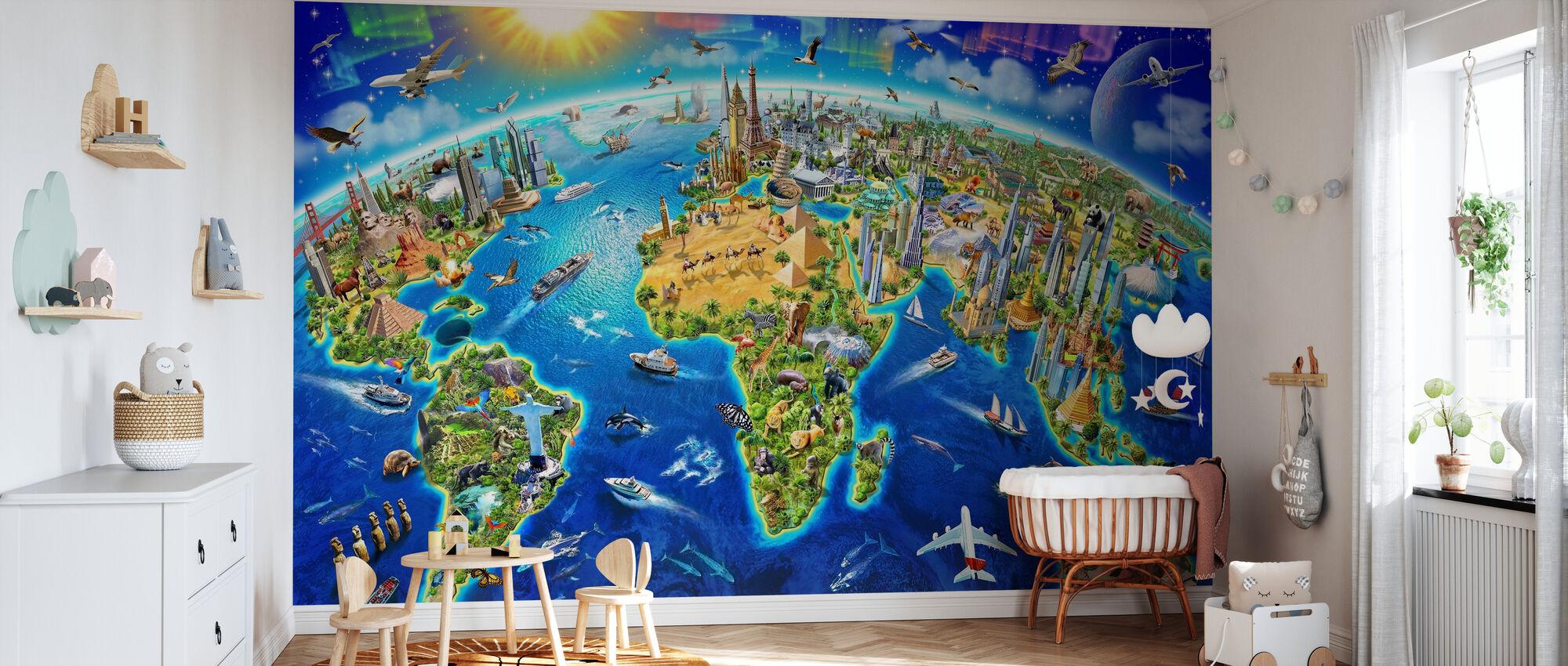 Världen Landmärken Globe - Tapet - Babyrum