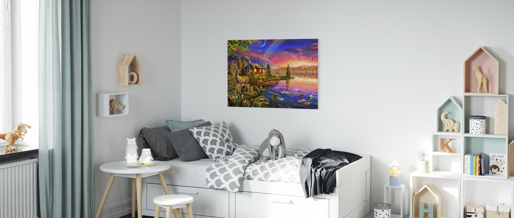 Lakeside Cabin - Canvas print - Kids Room