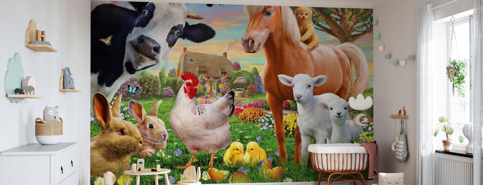 Boerderij Dieren voor kinderen - Behang - Babykamer