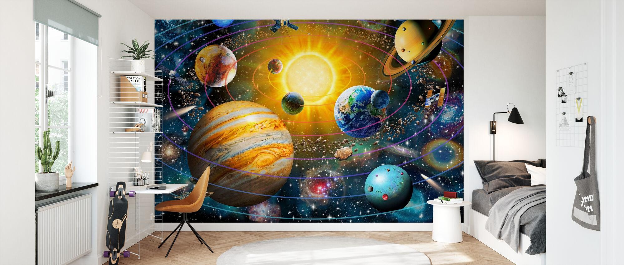 Ringed Solar System - Wallpaper - Kids Room