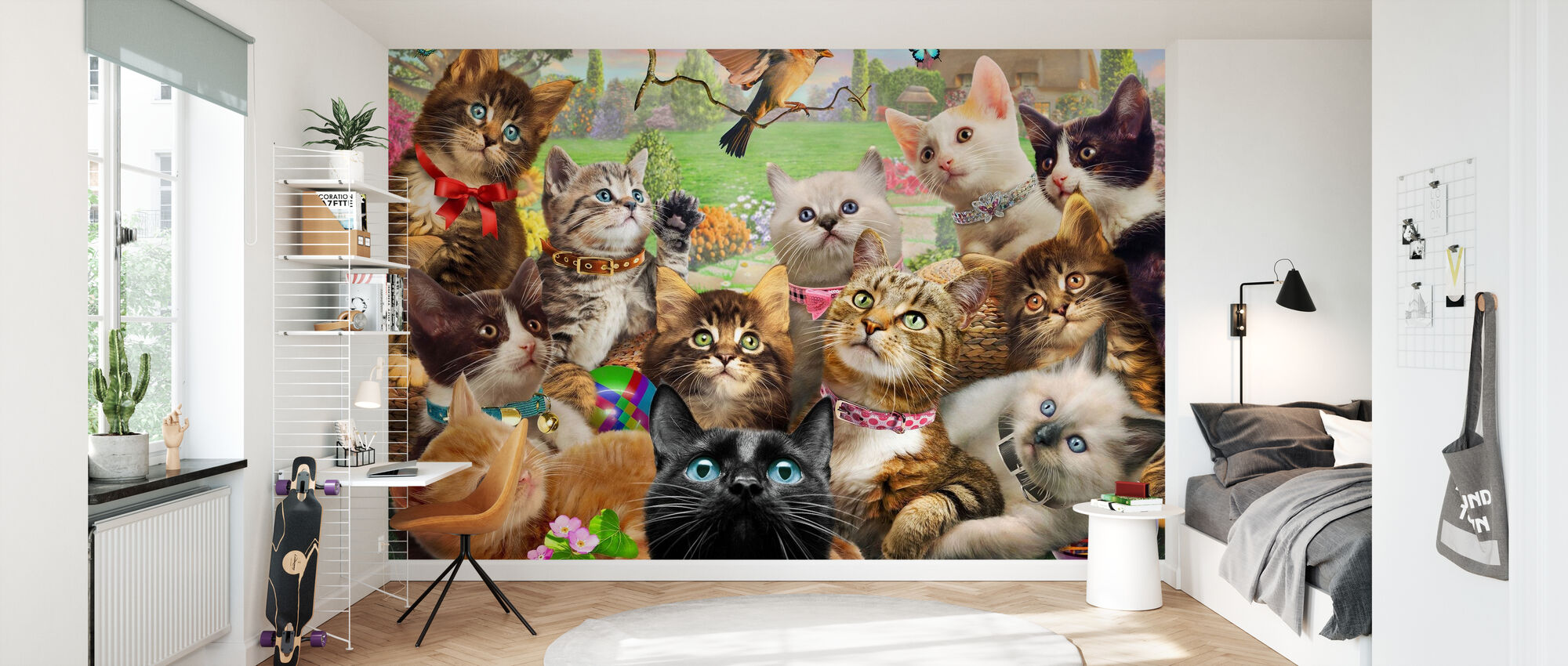Kittens and bird Europe - Wallpaper - Kids Room