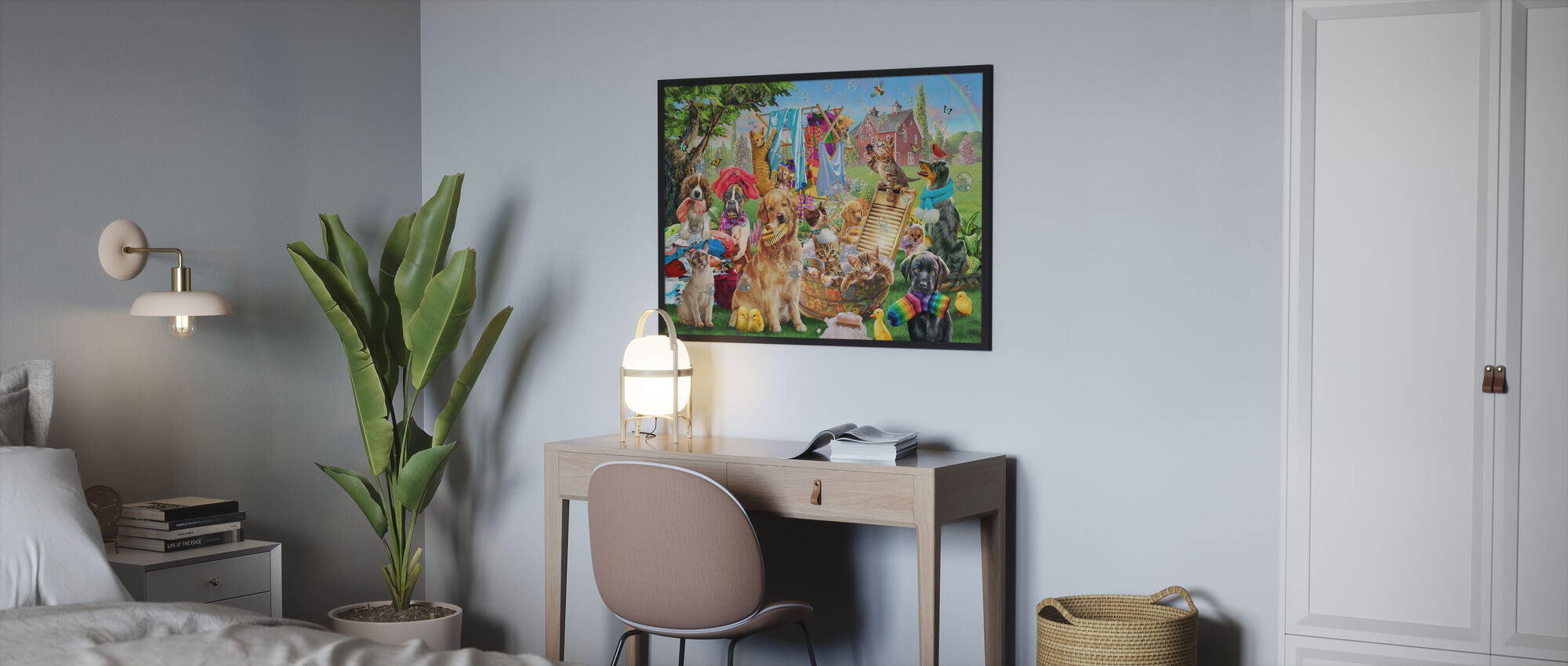 Pets On Wash Day - Poster - Bedroom