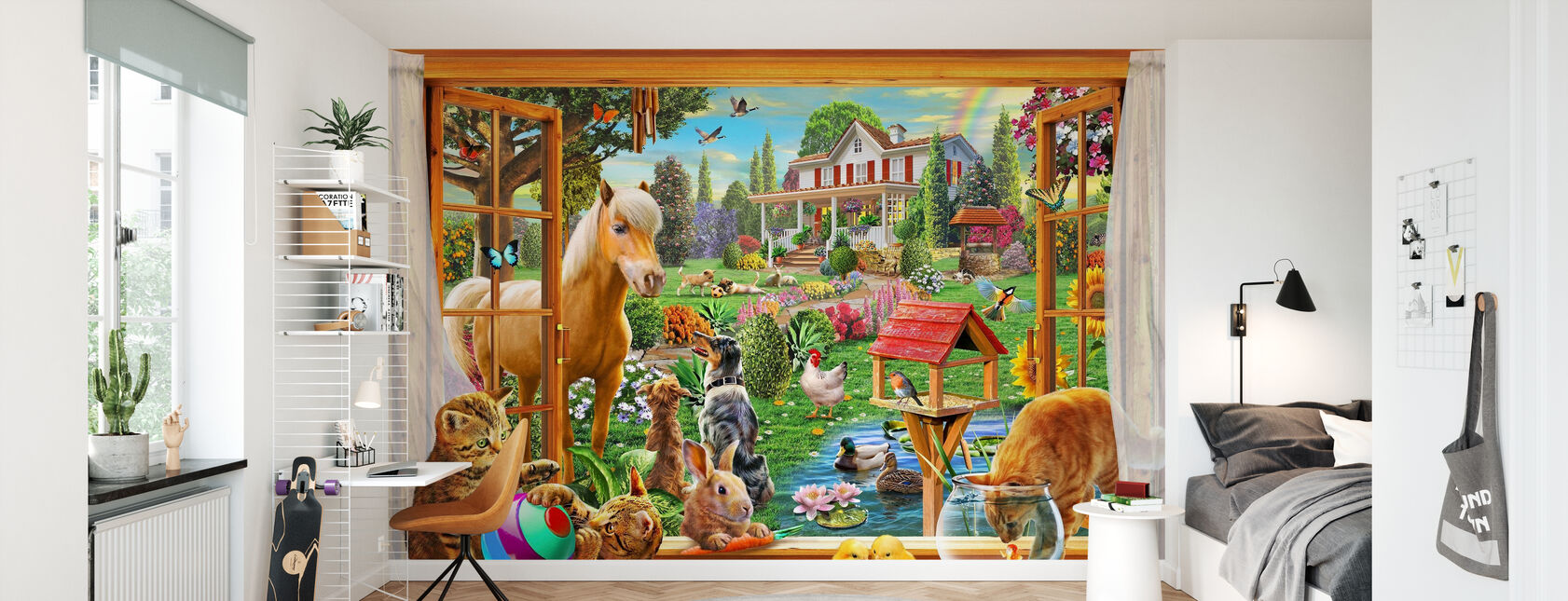 Dyr i hagen - Tapet - Barnerom