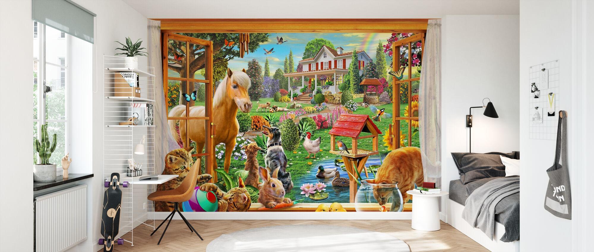 Tiere im Garten - Tapete - Kinderzimmer