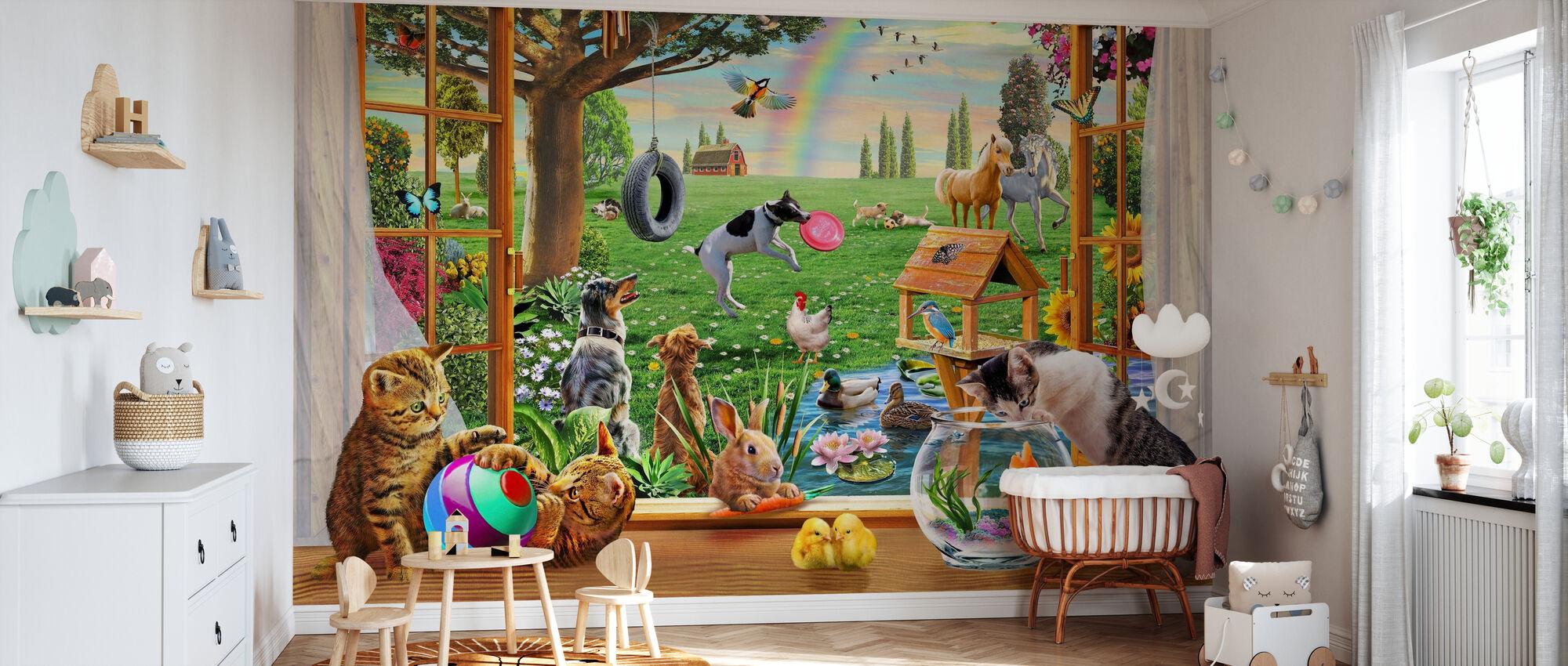 Haustiere im Garten - Tapete - Babyzimmer