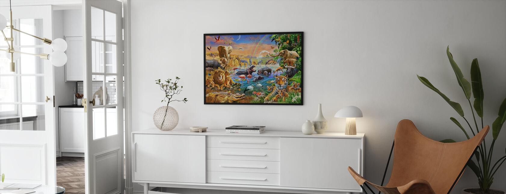 Savannah Jungle Waterhole - Poster - Woonkamer