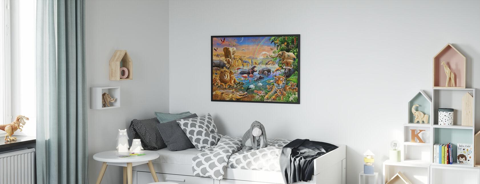 Savannah jungelen vannhull - Innrammet bilde - Barnerom