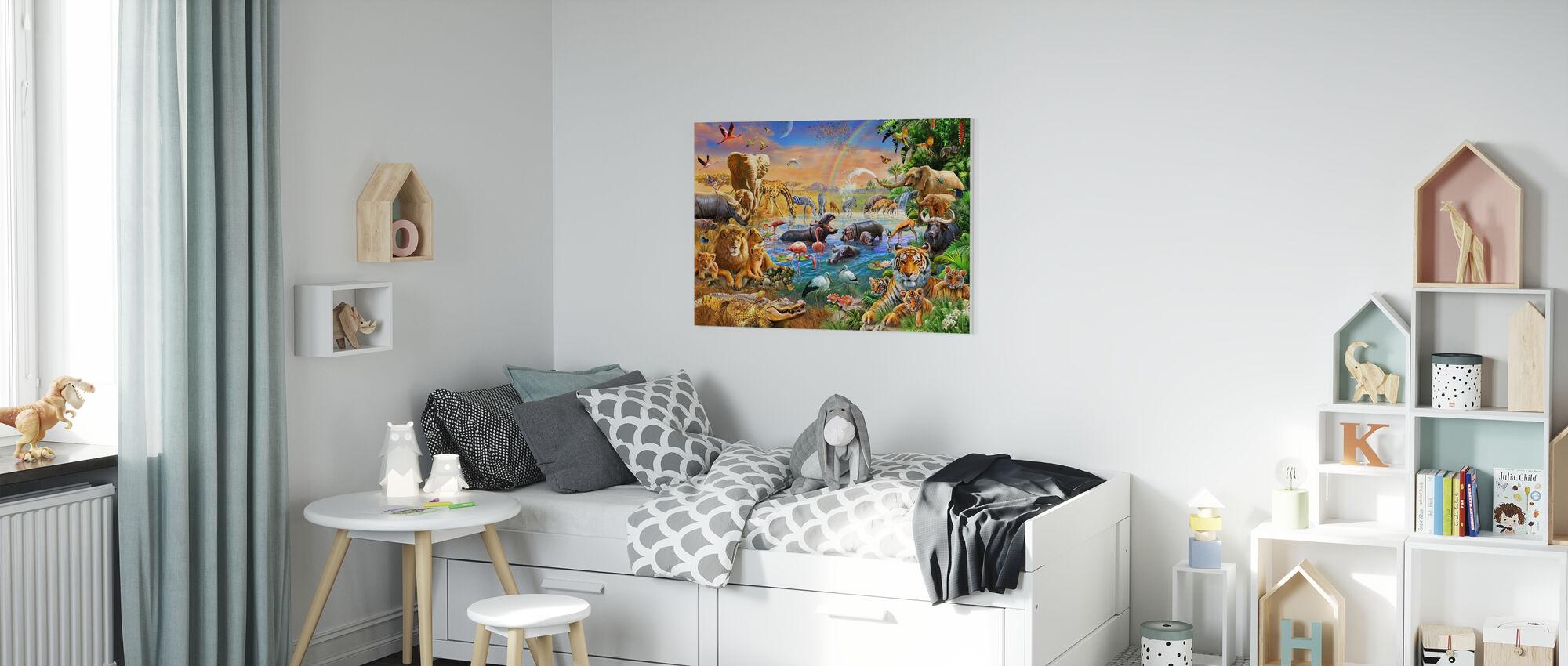 Savannah Jungle Waterhole - Canvas print - Kids Room