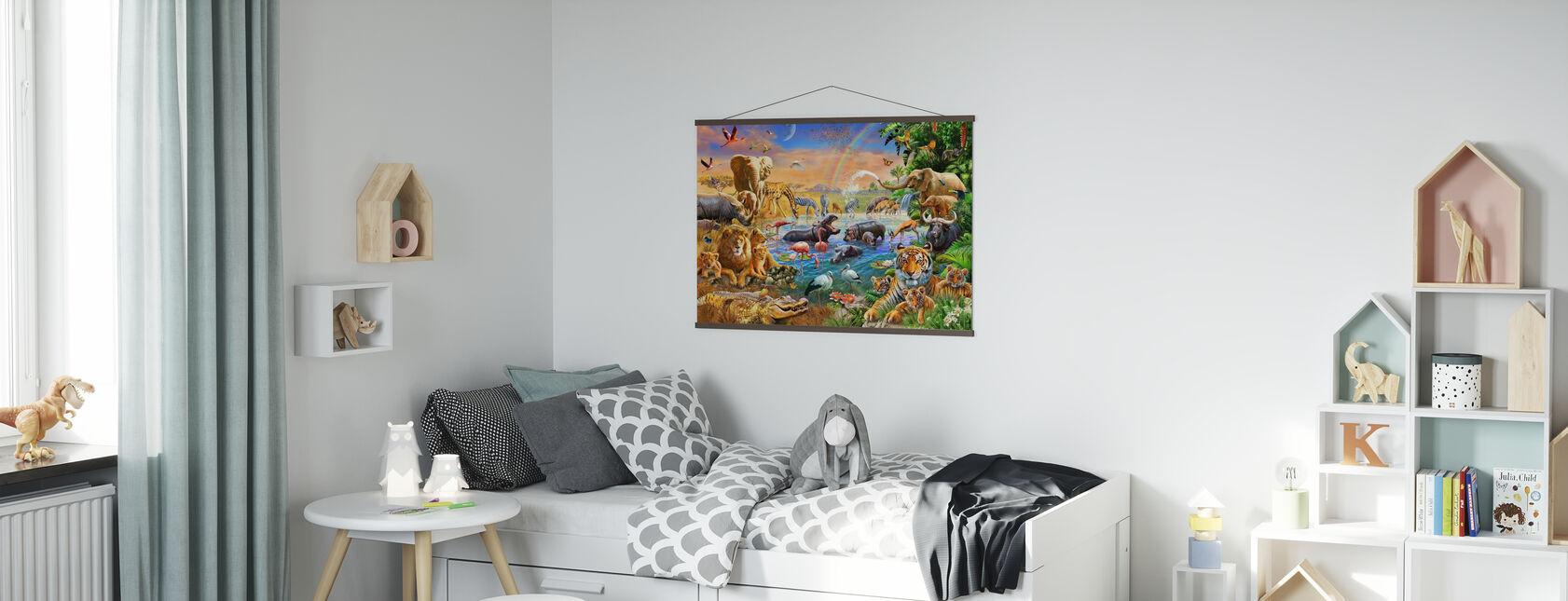 Savannah Jungle Waterhole - Poster - Kids Room