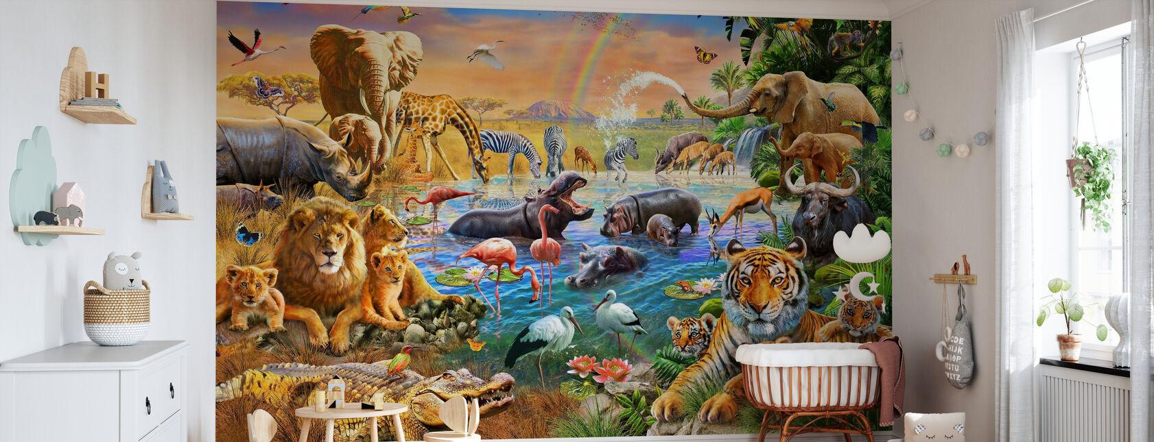 Savannah Jungle Waterhole - Wallpaper - Nursery