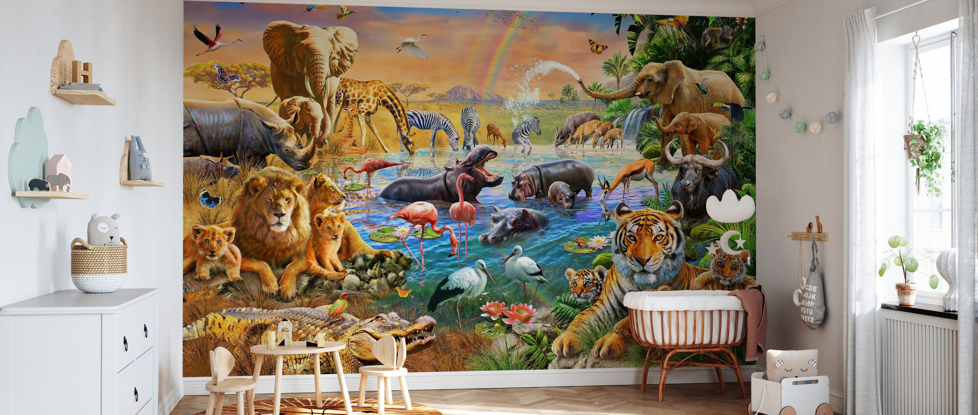 Savannah Jungle Vandhul - Tapet - Babyværelse