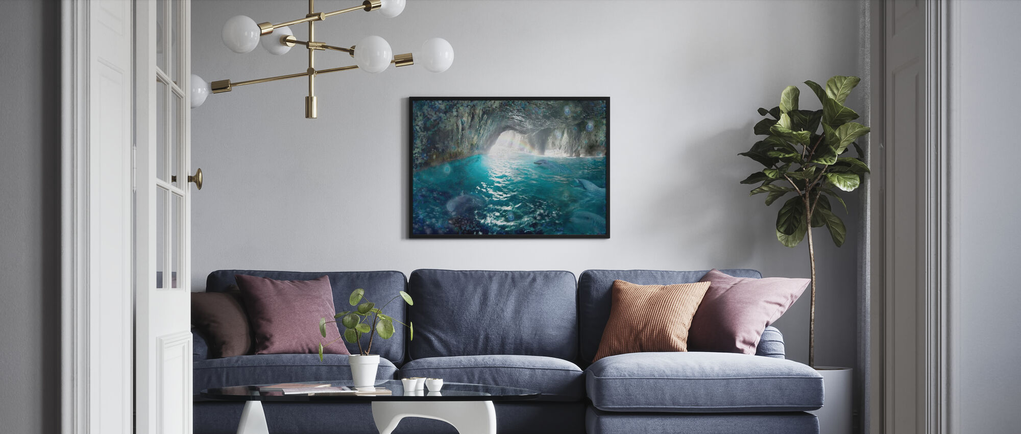Dolphin Seacave - Framed print - Living Room
