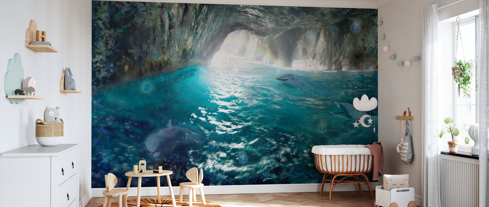 Dolphin Seacave - Wallpaper - Nursery