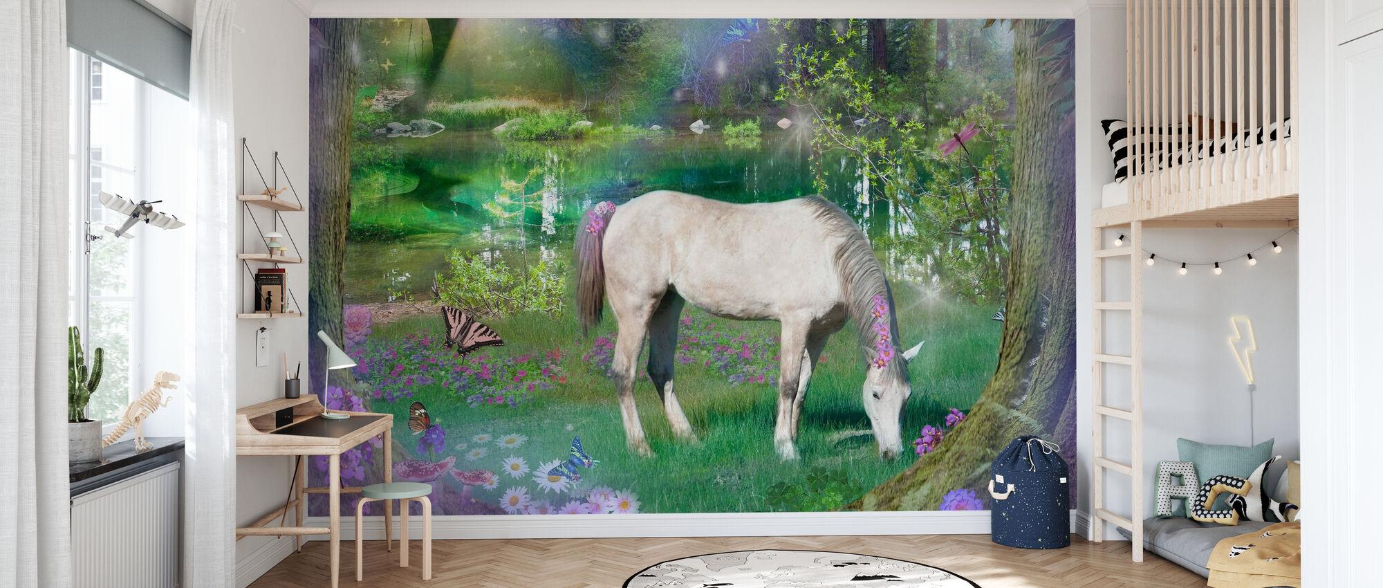 Emerald Unicorn - Wallpaper - Kids Room