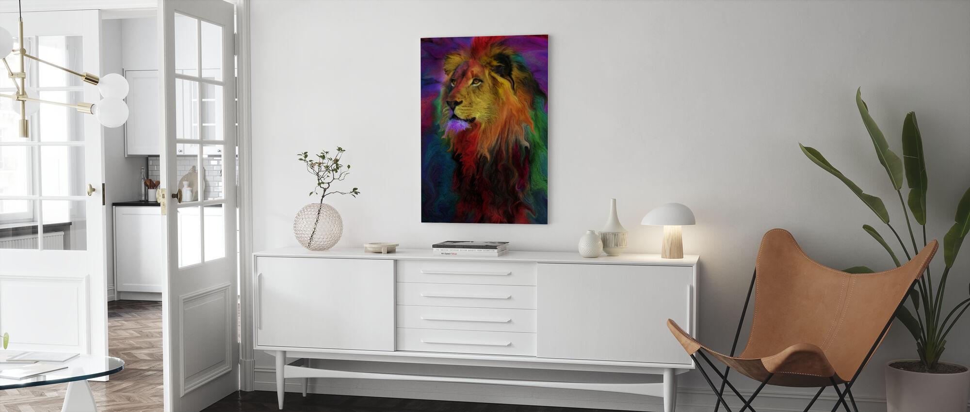 Regenboog Leeuw - Canvas print - Woonkamer