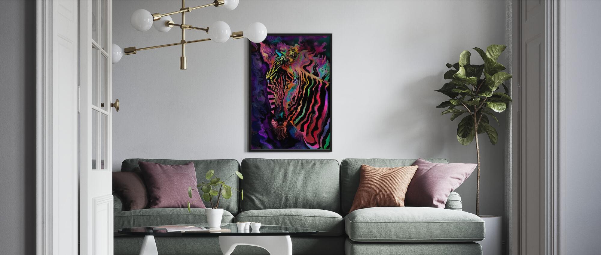 Rainbow Zebra - Indrammet billede - Stue
