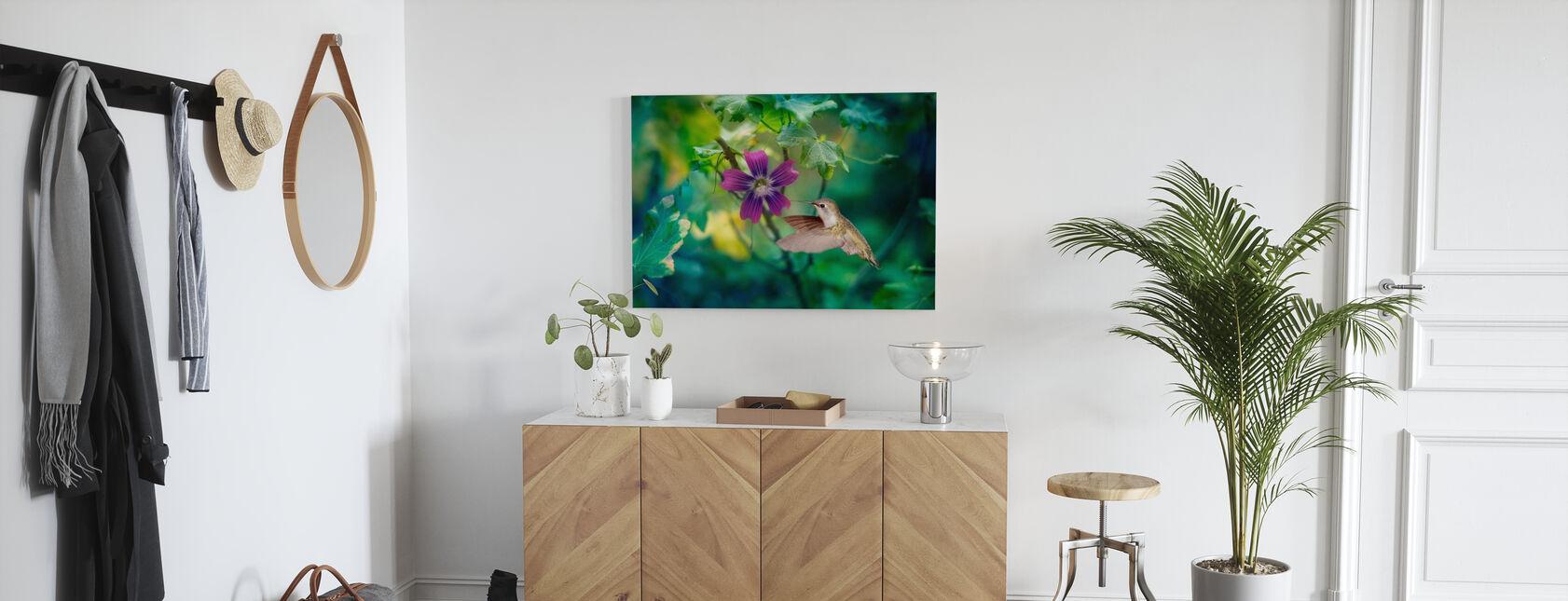 Purple Hummingbird Dewdrop - Canvas print - Hallway