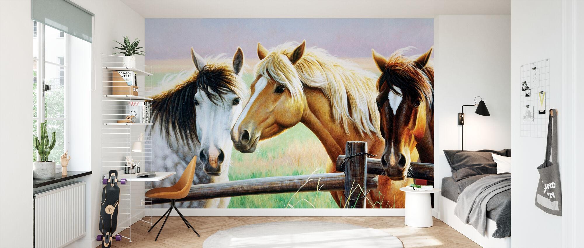 Drei Pferde auf dem Zaun - Tapete - Kinderzimmer
