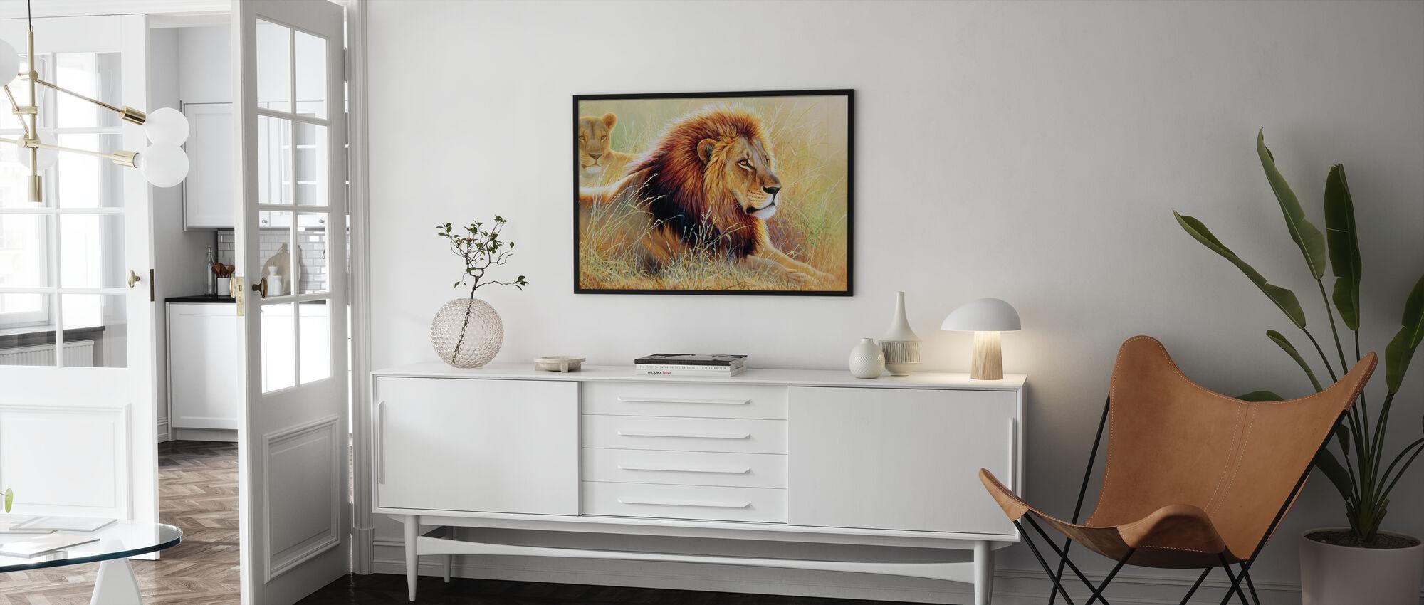 Leeuw en Leeuwin - Ingelijste print - Woonkamer
