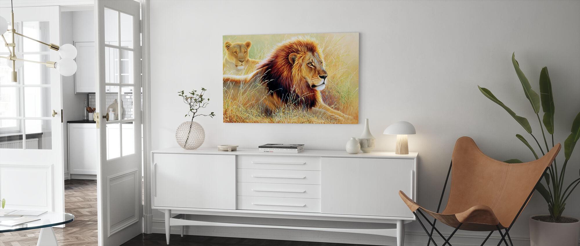 Leeuw en Leeuwin - Canvas print - Woonkamer