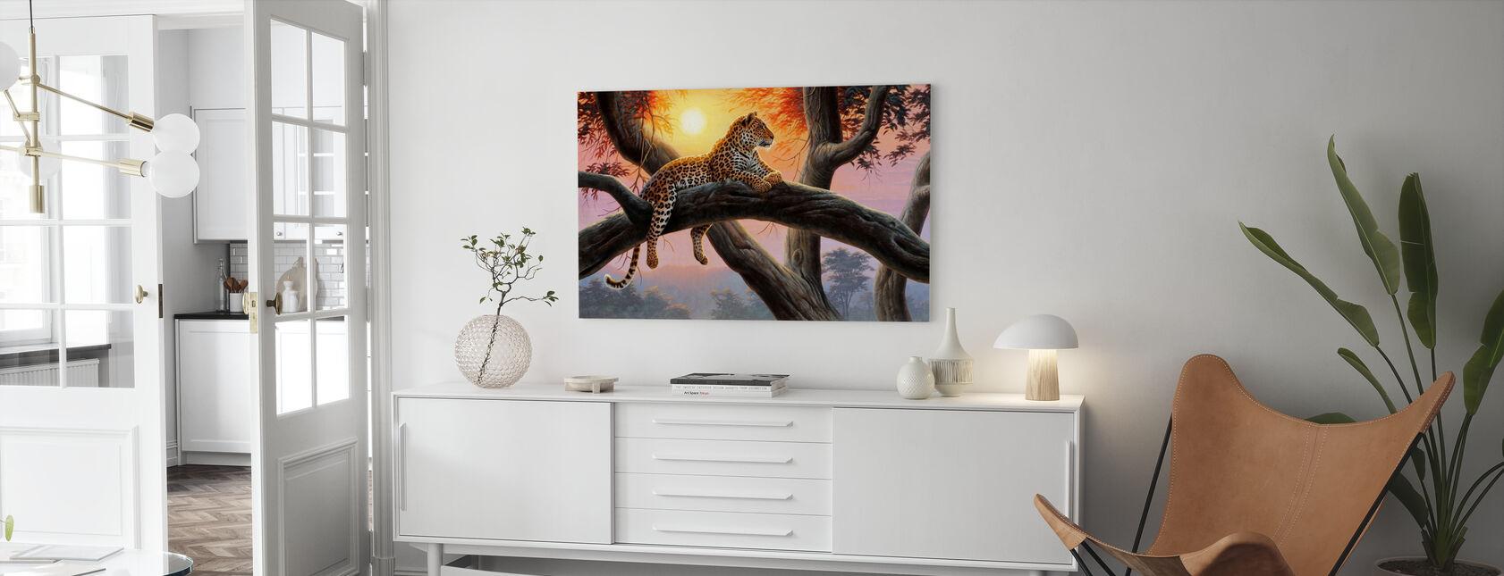 Avondhorloge - Luipaard - Canvas print - Woonkamer