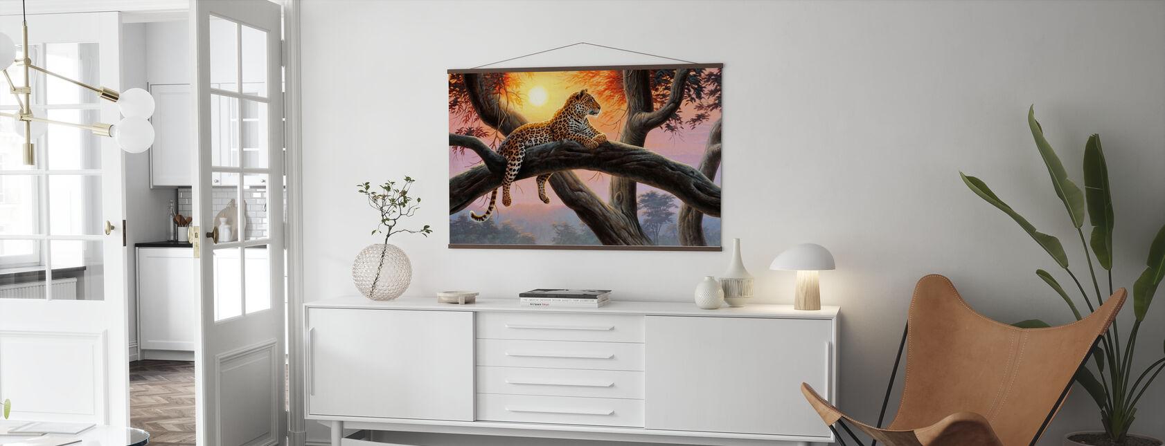 Kvällsklocka - Leopard - Poster - Vardagsrum