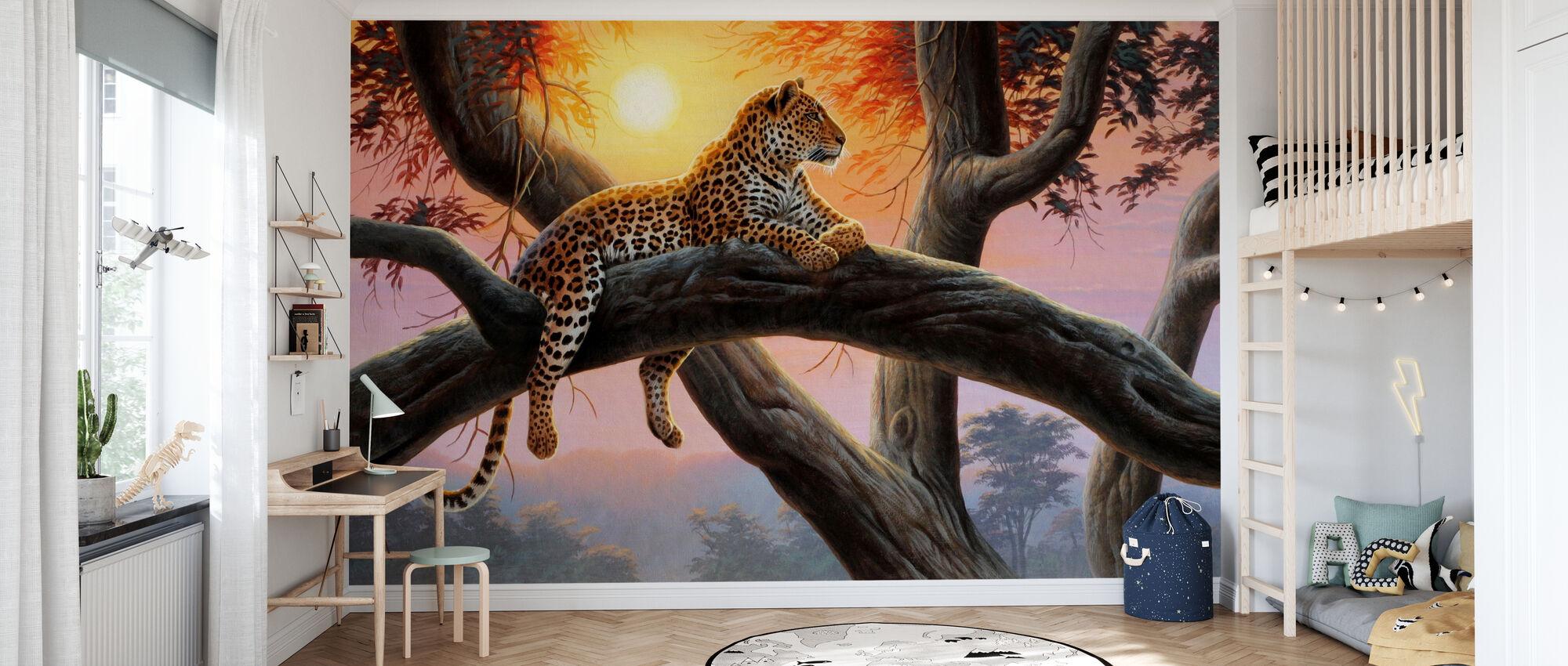 Avondhorloge - Luipaard - Behang - Kinderkamer
