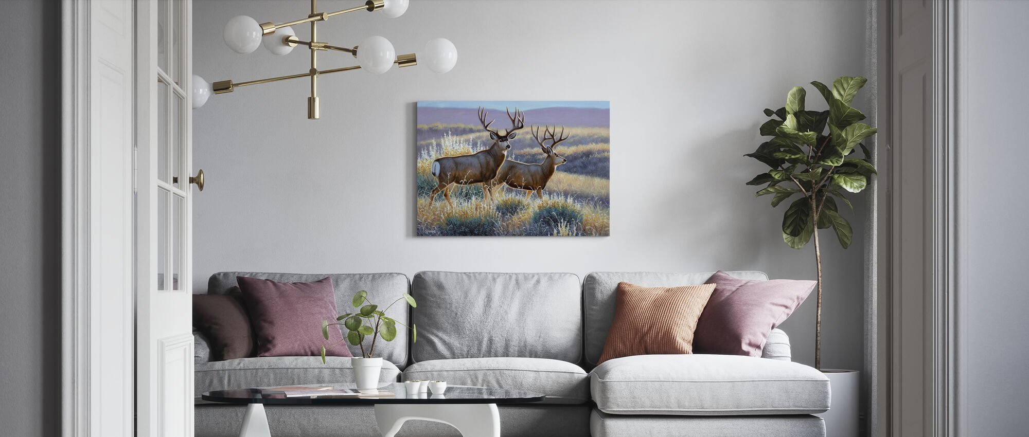 Mulies in Sage - Canvas print - Living Room
