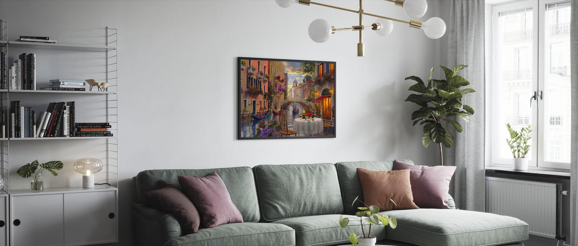 Venedig Al Fresco - Inramad tavla - Vardagsrum