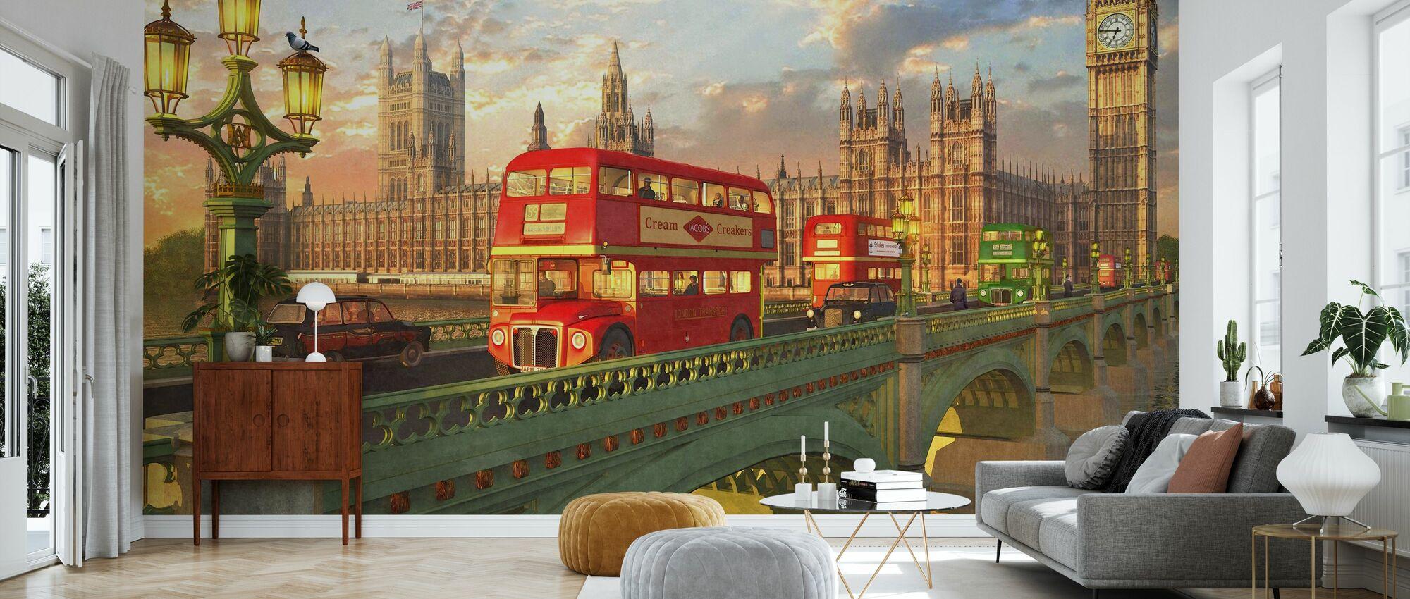 Bussen van Westminster Bridge - Tapete - Wohnzimmer