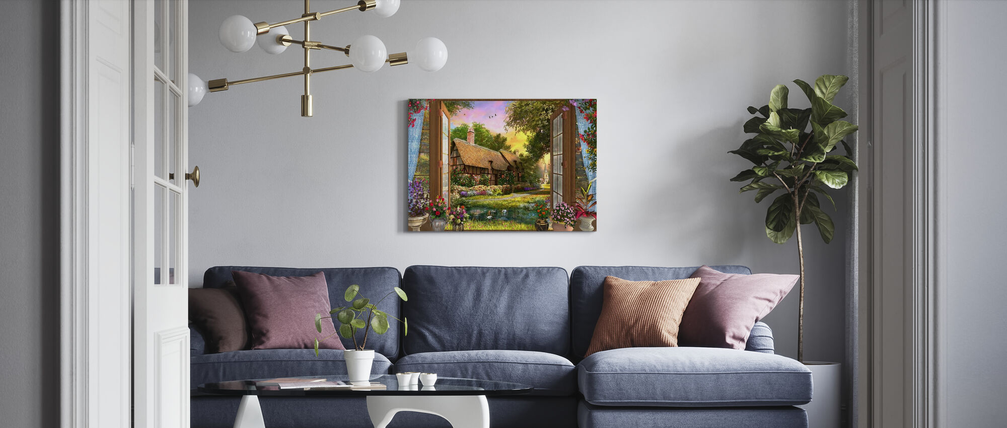 Cottage View Sunset - Canvas print - Living Room