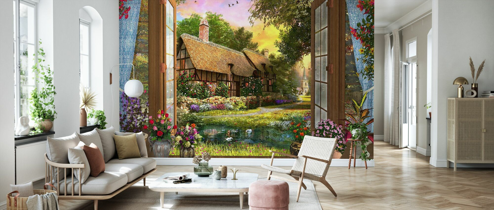 Cottage View Sunset - Wallpaper - Living Room