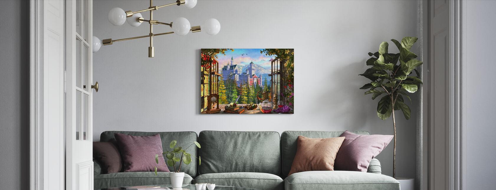 Berg kasteel door raam - Canvas print - Woonkamer