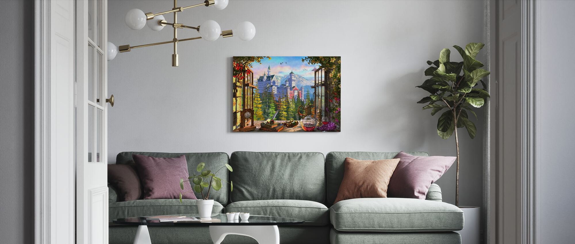 Mountain Castle through Window - Canvas print - Living Room