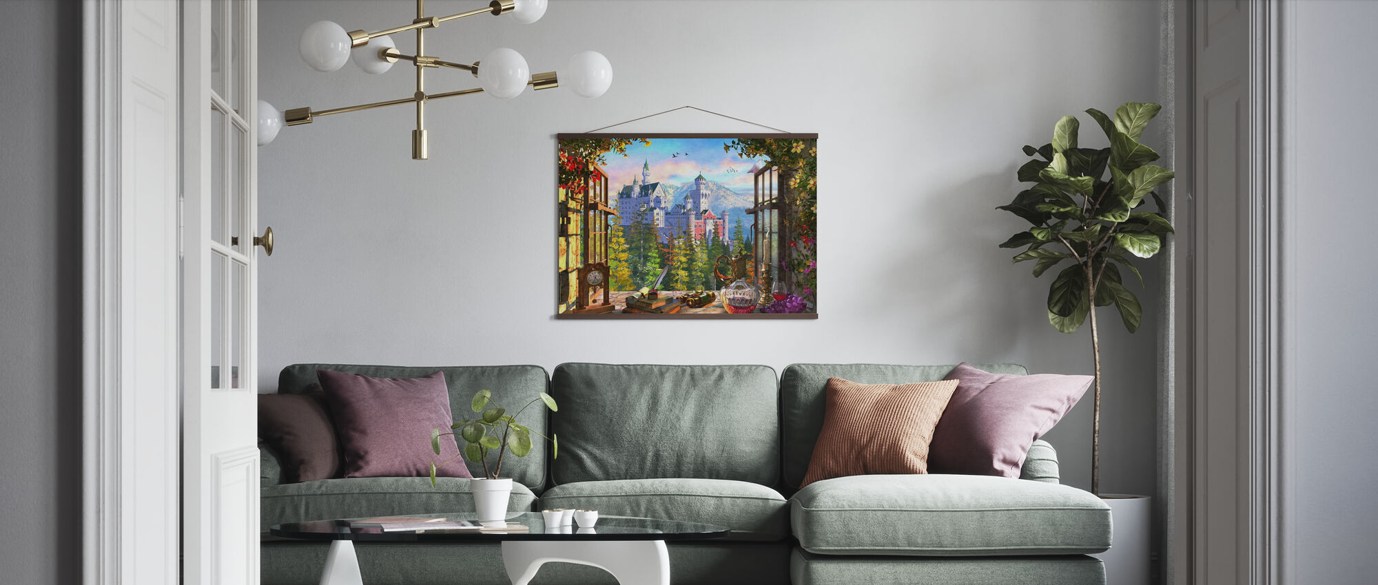 Mountain Castle through Window - Poster - Living Room