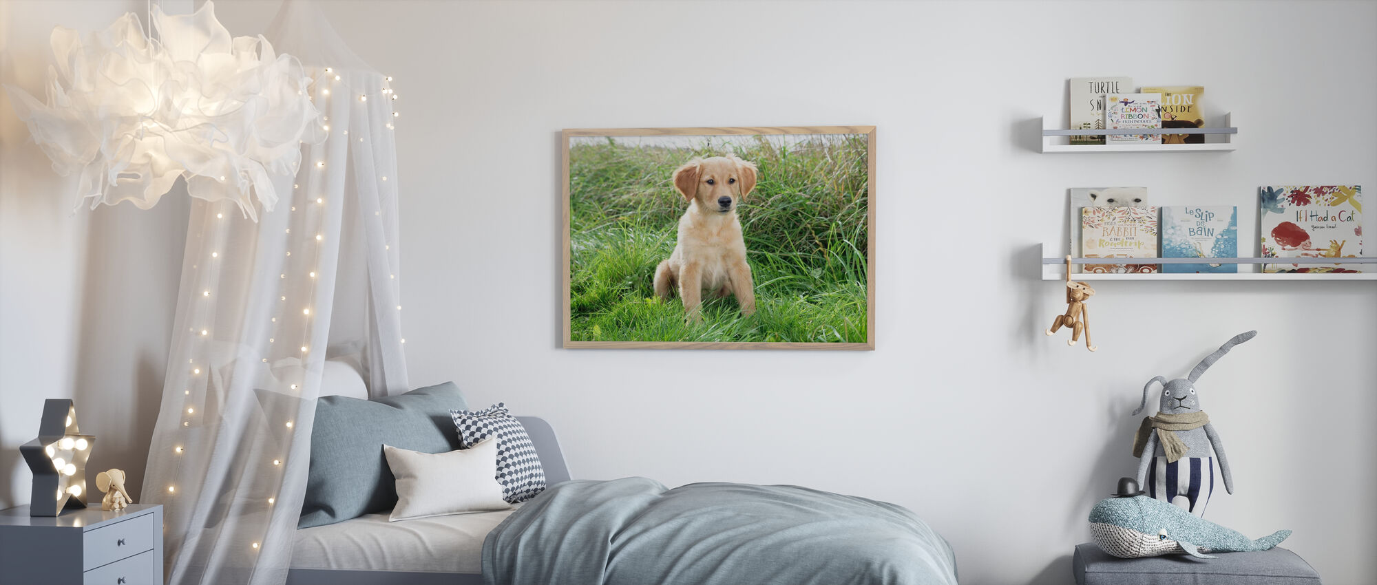 Golden Retriever Puppy in Meadow - Framed print - Kids Room
