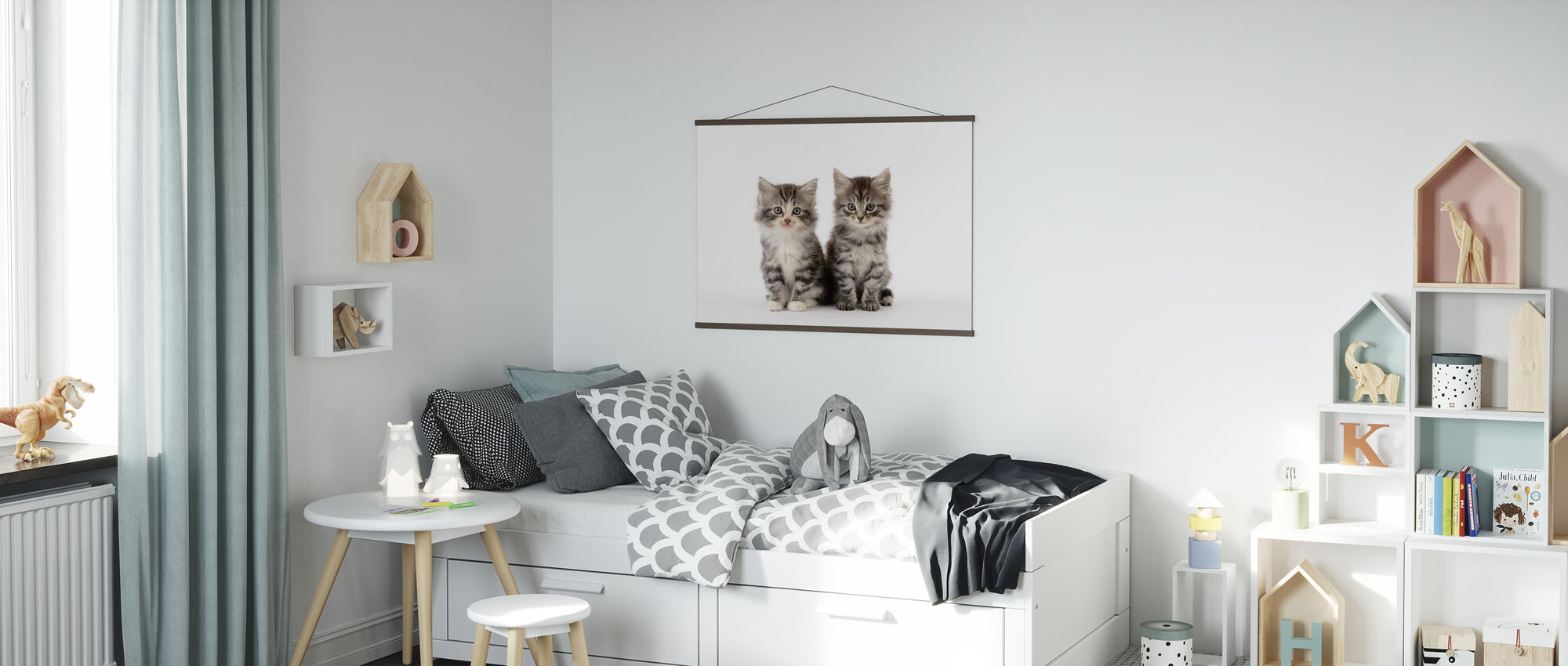 Cats White Background - Poster - Kids Room