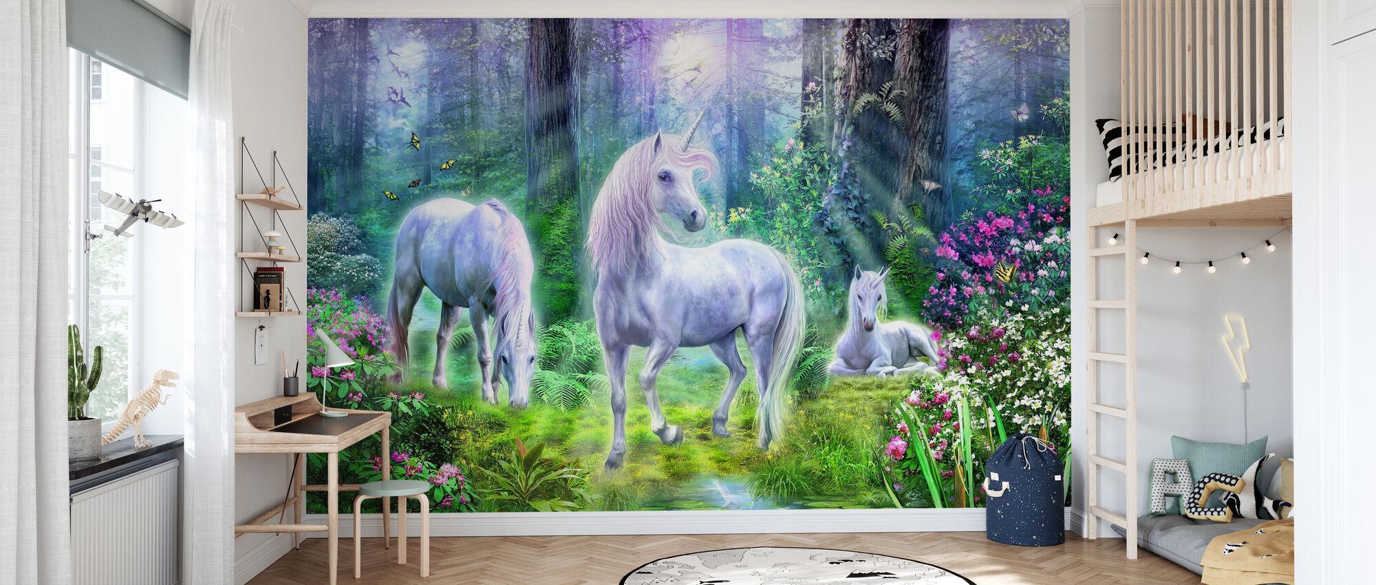 Famiglia degli unicorno della foresta - Carta da parati - Camera dei bambini