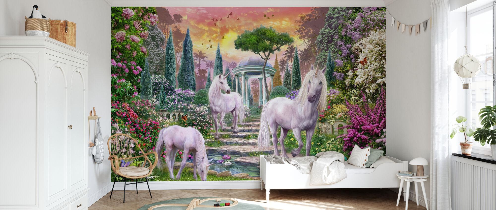 Licornes de jardin classiques - Papier peint - Chambre des enfants