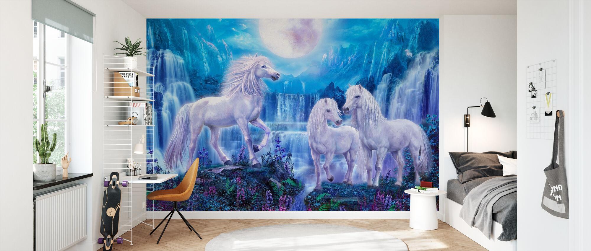 Natt Hästar - Tapet - Barnrum