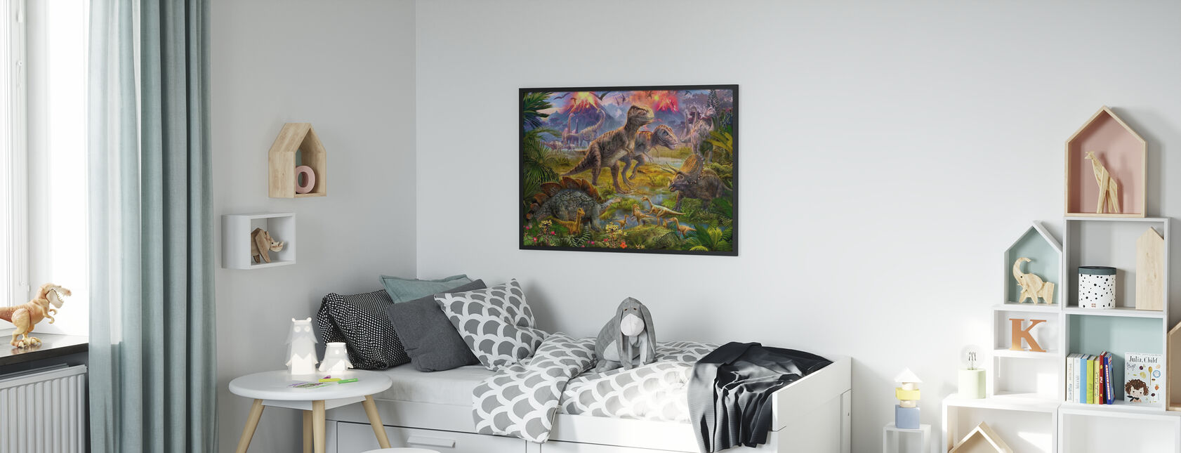 Dinosaur Gathering - Framed print - Kids Room