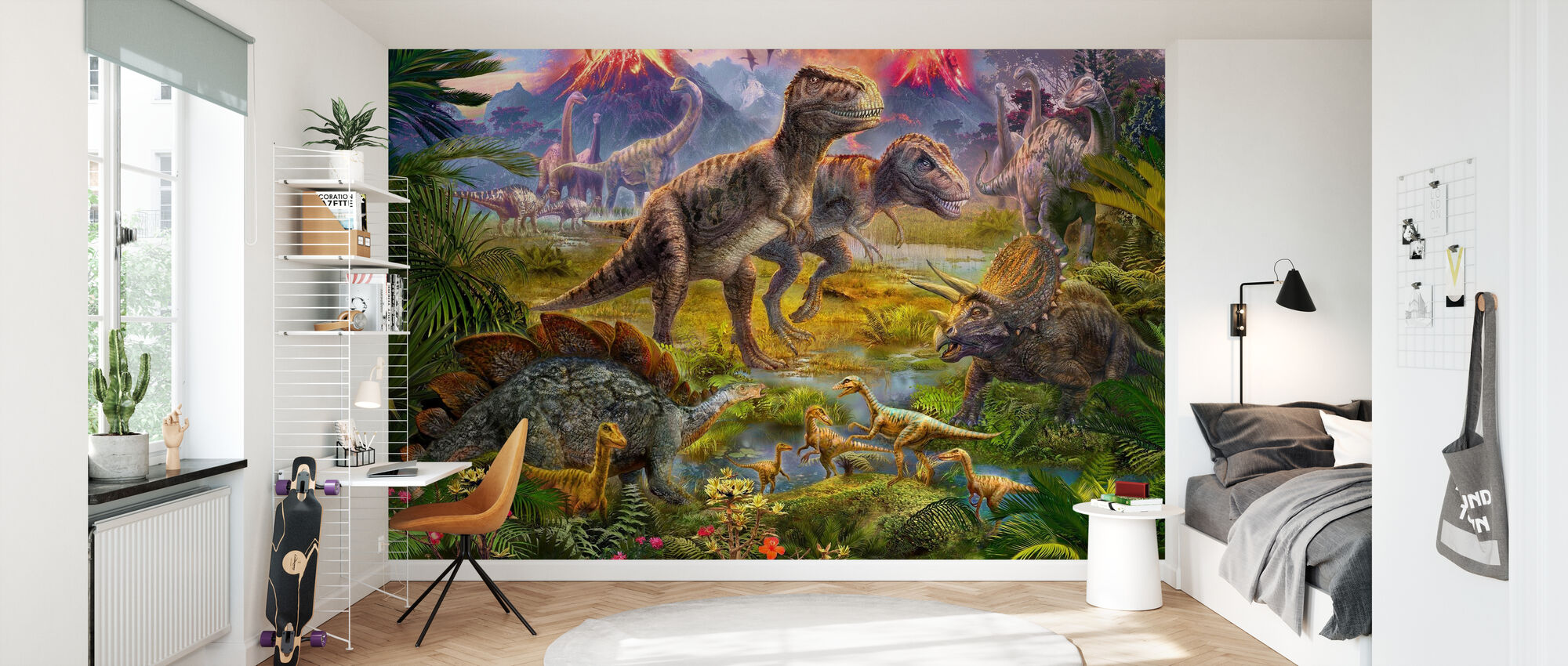 Dinosaur Gathering - Wallpaper - Kids Room