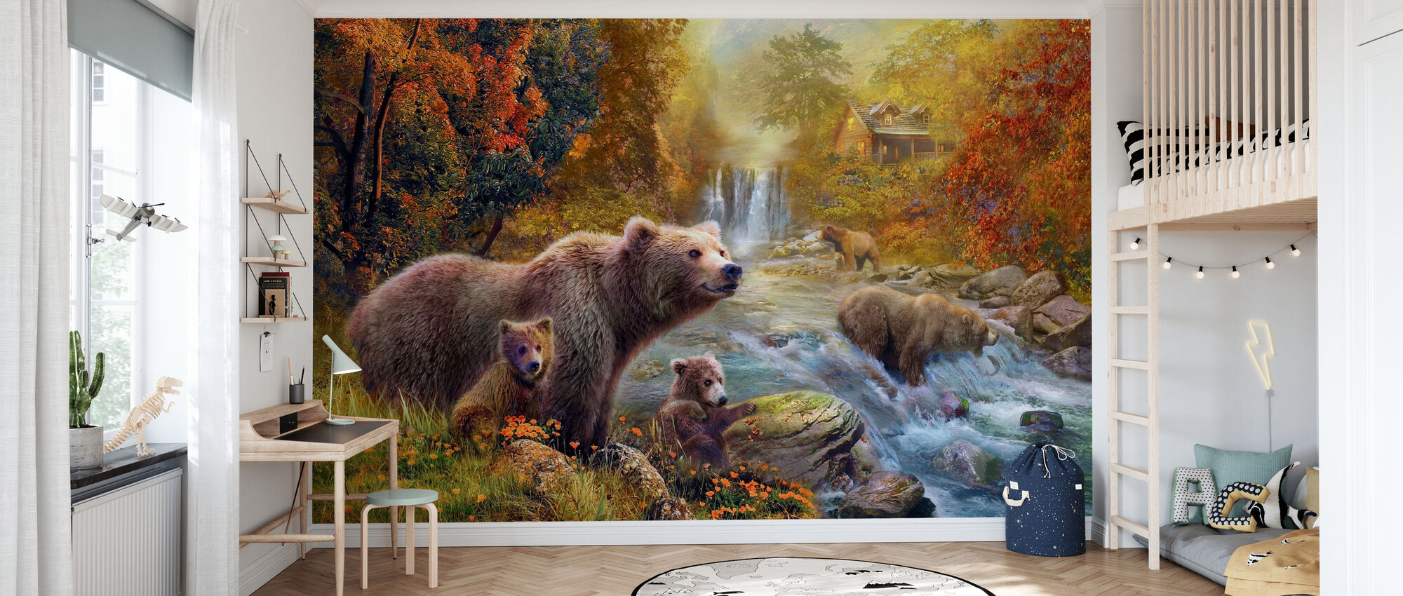 Bears by the Stream - Wallpaper - Kids Room