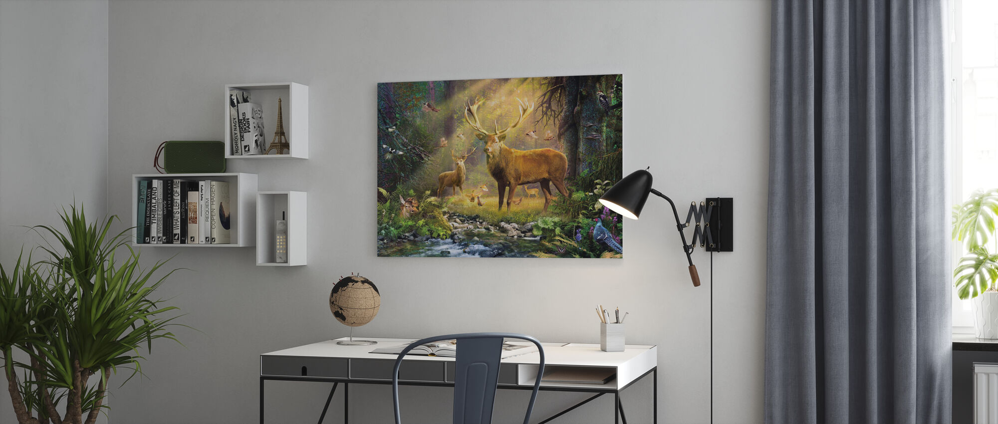 Sun Light Deers - Canvas print - Office